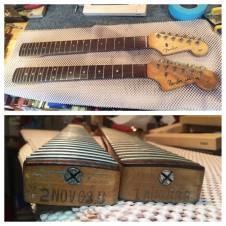 1963 original vintage Fender Stratocaster and Jaguar necks in for repairs.