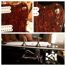 Wiring mod, coil tap options added to this Fender Jazzmaster with Humbuckers