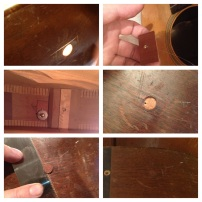 Repairing and plugging the damaged sides of this 1950s Martin 00-18. Someone thought it was a good idea to drive a hole into the side.
