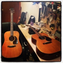 1950s Martin acoustics in for restorations: D-18 and 000 models.