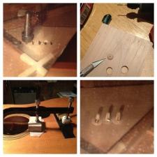 Repairing the worn out bridge plate holes, using the wonderful Bridge Saver tool from Stewmac.