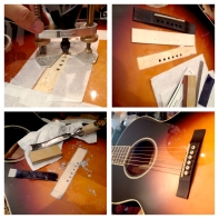 This acoustic guitar (the maker will not be outed here) left the factory with a mess of epoxy and very poor top to bridge contact. It came in for a typical lifting bridge repair, but we found a mess inside. Ended up removing all the epoxy, clearing and leveling the spruce top for inlay of a new flat matching spruce patch. Then finally reglued the bridge with hide glue. Better than ever now.