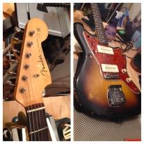 Original vintage Fender 1962 Jazzmaster in for a setup - not a reissue.