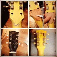 Gibson Les Paul broken headstock repair, with backstrap overlay of new Mahogany wood and lacquer finish touch up.