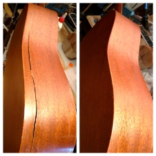 Repair of a nasty side split on this all Mahogany Martin.