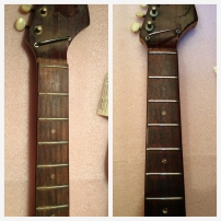 Rosewood fretboard before and after. Cleaning, oiling, and some fret work.