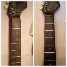 Rosewood fretboard before and after. Cleaning, conditioning , and some fret work.