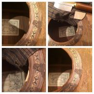 Grafting new spruce (and touch up blend) on the sound hole of this old Larrivée acoustic.