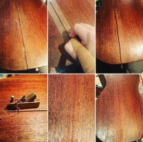Repair of a badly cracked and split mahogany back on this rare, vintage 1950's Guild M20 acoustic with a thin spline and finish touchup.